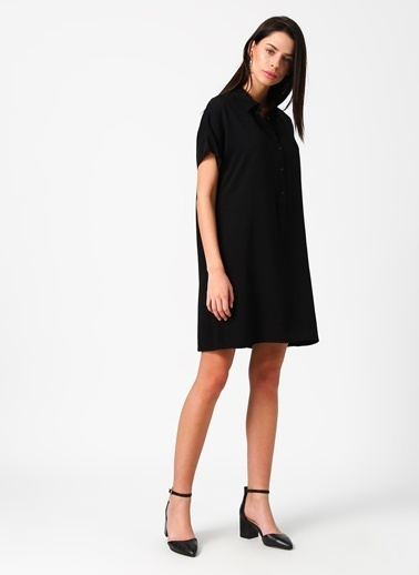 Limon Company Kısa Kollu Gömlek Yaka Elbise Siyah